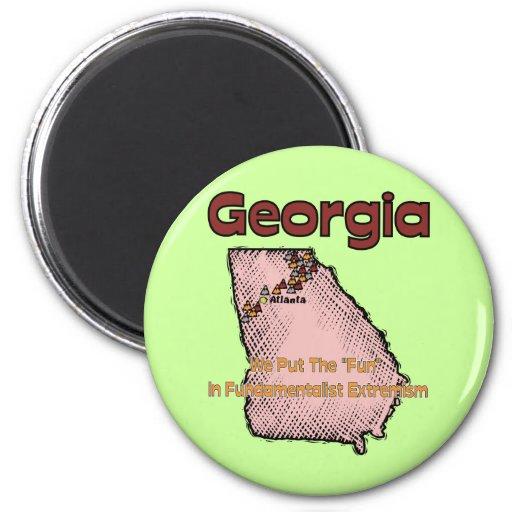 "Georgia GA US Motto ~ We Put The ""Fun"" In Refrigerator Magnets"
