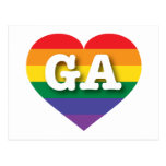 Georgia Gay Pride Rainbow Heart - Big Love Postcard