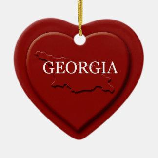 Georgia  Heart Map Christmas Ornament