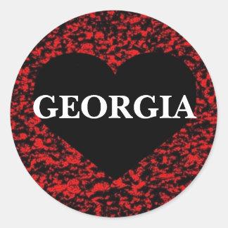 Georgia Heart Red Round Sticker