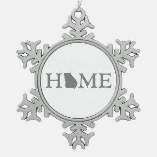 Georgia HOME state Snowflake Pewter Christmas Ornament