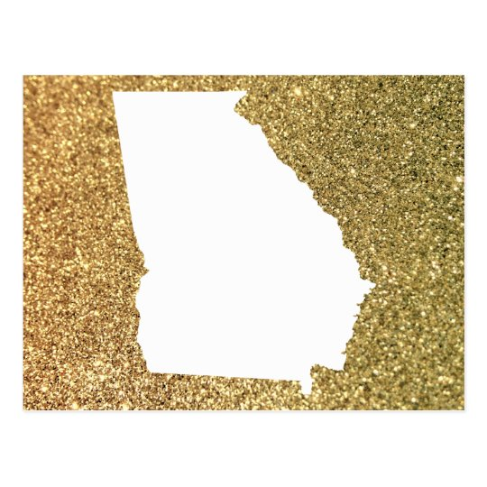 Georgia in White and Gold Glitter Postcard