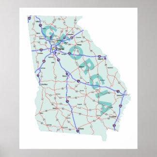 Georgia Interstate Map Print