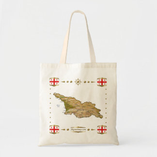 Georgia Map + Flags Bag