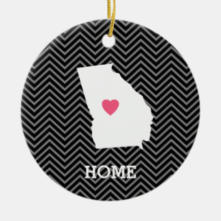 Georgia Map Home State Love with Custom Heart Round Ceramic Decoration