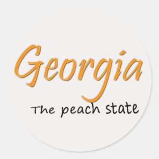 Georgia Peach Button Round Sticker