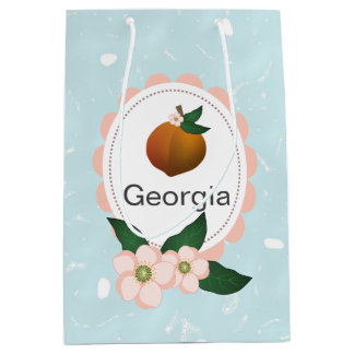 Georgia Peach fruit art design. Medium Gift Bag