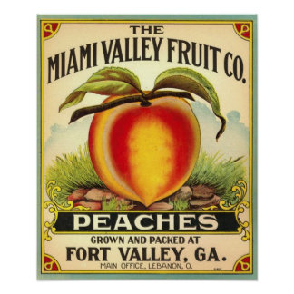 Georgia Peaches Crate Label Poster