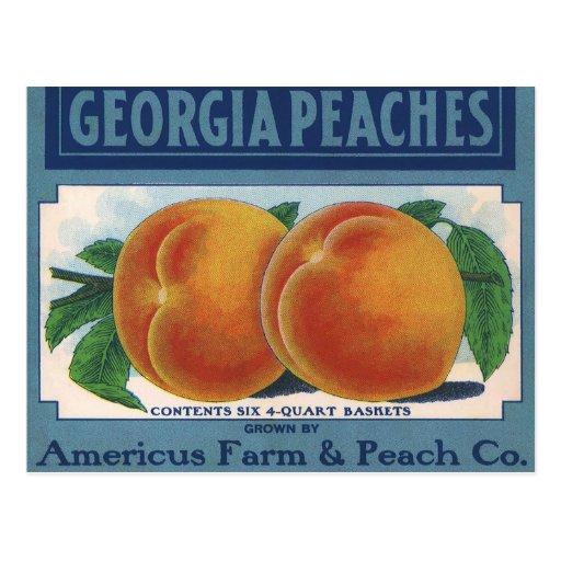 Georgia Peaches, Vintage Fruit Crate Label Art Post Card
