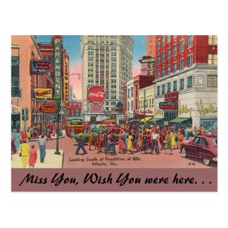 Georgia, Peachtree & Ellis Streets, Atlanta Postcard