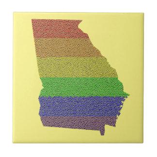 Georgia Rainbow Pride Flag Mosaic Small Square Tile