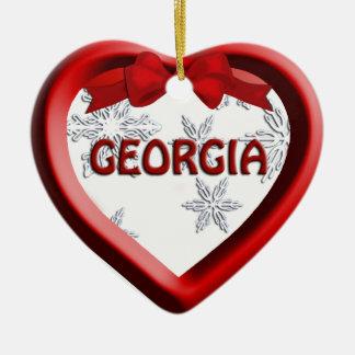 Georgia Snowflake Heart Christmas Ornament