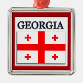 Georgia State Flag Christmas Ornament