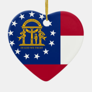 GEORGIA STATE FLAG HEART ORNAMENT