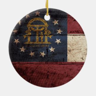 Georgia State Flag on Old Wood Grain Christmas Ornament