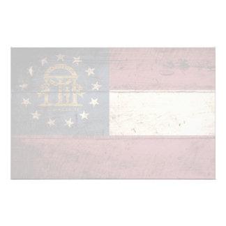 Georgia State Flag on Old Wood Grain Stationery Design