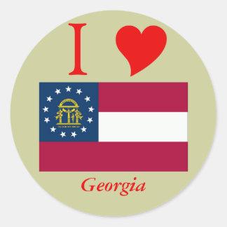 Georgia State Flag Round Sticker