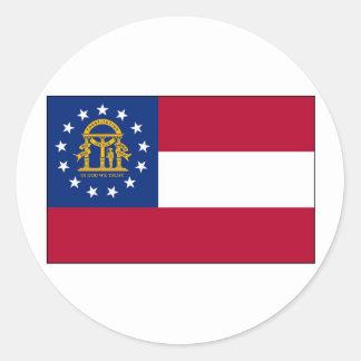 Georgia State Flag Round Stickers