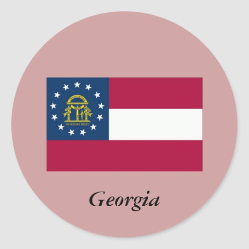 Georgia State Flag Round Stickers