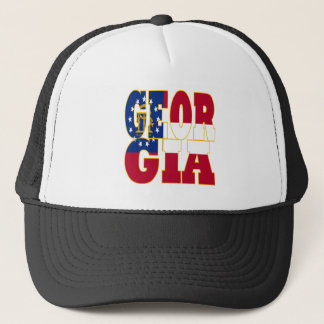 Georgia state flag text trucker hat