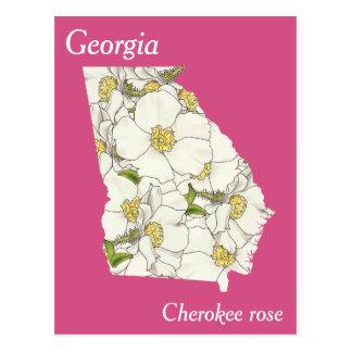 Georgia State Flower Collage Map Postcard