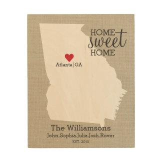 Georgia State Map Custom Family Name Established Wood Wall Art