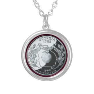 Georgia State Quarter Round Pendant Necklace