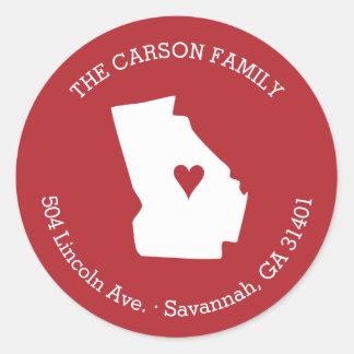 Georgia State Return Address with Heart on City Round Sticker