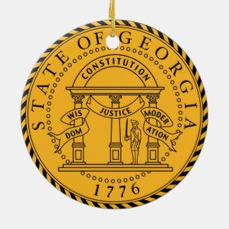 Georgia state seal america republic symbol flag round ceramic decoration