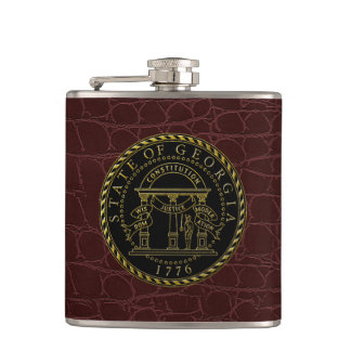 Georgia State Seal Black Gold Leather Hip Flask