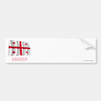 Georgia Waving Flag with Name Bumper Sticker