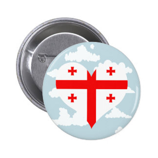 Georgian Flag on a cloudy background 2 Inch Round Button