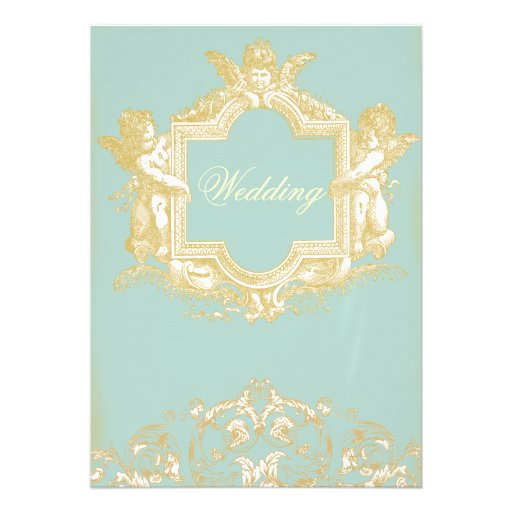 Georgiana (Marie Antoinette Blue) Wedding Custom Invitation
