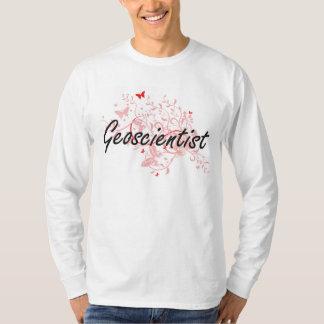 Geoscientist Artistic Job Design with Butterflies Tshirt