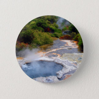 Geothermal Activity near Rotorua, New Zealand 6 Cm Round Badge