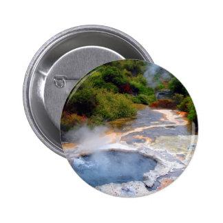 Geothermal Activity near Rotorua, New Zealand 6 Cm Round Badge