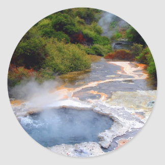 Geothermal Activity near Rotorua, New Zealand Round Sticker