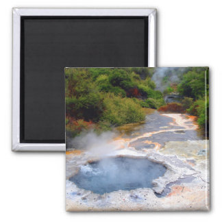 Geothermal Activity near Rotorua, New Zealand Square Magnet