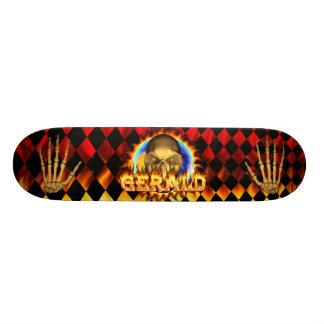 Gerald skull real fire and flames skateboard desig