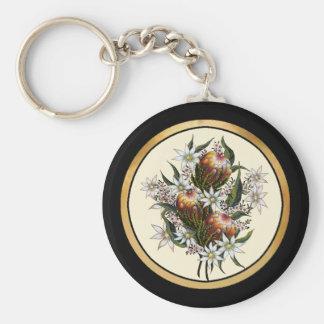Geraldton Wax, Flannel Flowers, Banksia Basic Round Button Key Ring