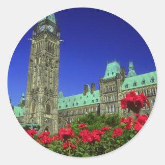 Geranium beds in full bloom on Parliament Hill, Ot Sticker