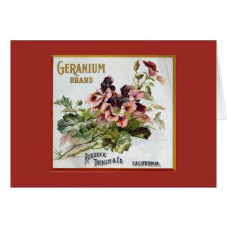 Geranium Brand Fruit Crate Label Note Card