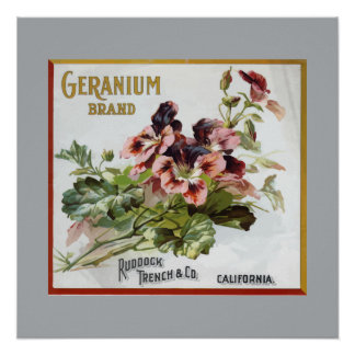 Geranium Brand Fruit Crate Label Posters