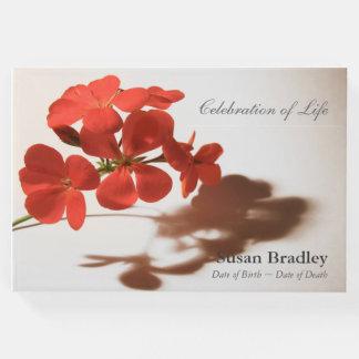 Geranium Floral Photography Funeral Guest Book