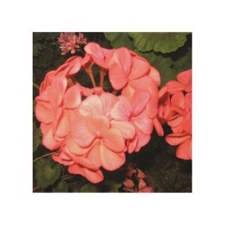 Geranium flower wood wall art