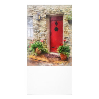 Geraniums by Red Door Photo Card