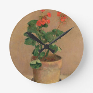 Geraniums in a Pot, c.1905 (oil on canvas) Round Clock