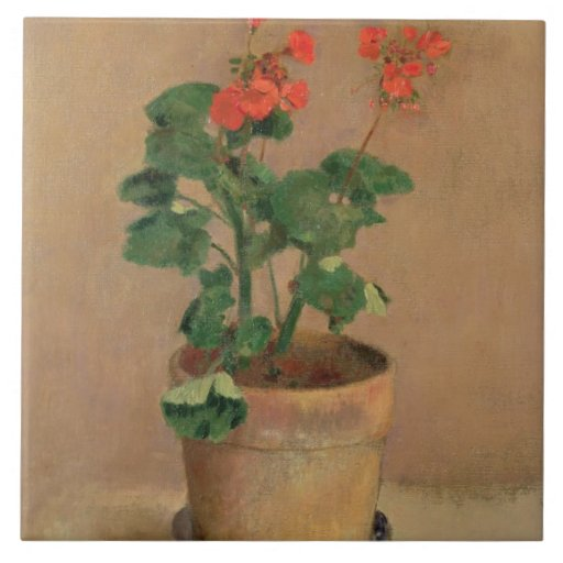 Geraniums in a Pot, c.1905 (oil on canvas) Ceramic Tile