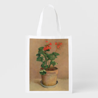 Geraniums in a Pot c 1905 oil on canvas Grocery Bag