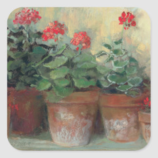 Geraniums in Pots Square Stickers